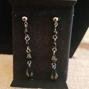Black faceted beaded drop earrings